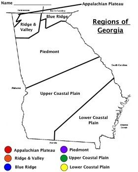 Outlined map of the 6 regions of Georgia that includes a