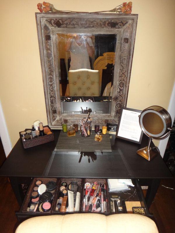 Writing Desk Ikea Converted Vanity. Trays