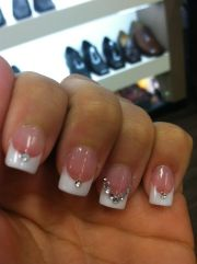 wedding nails with rhinestone accent