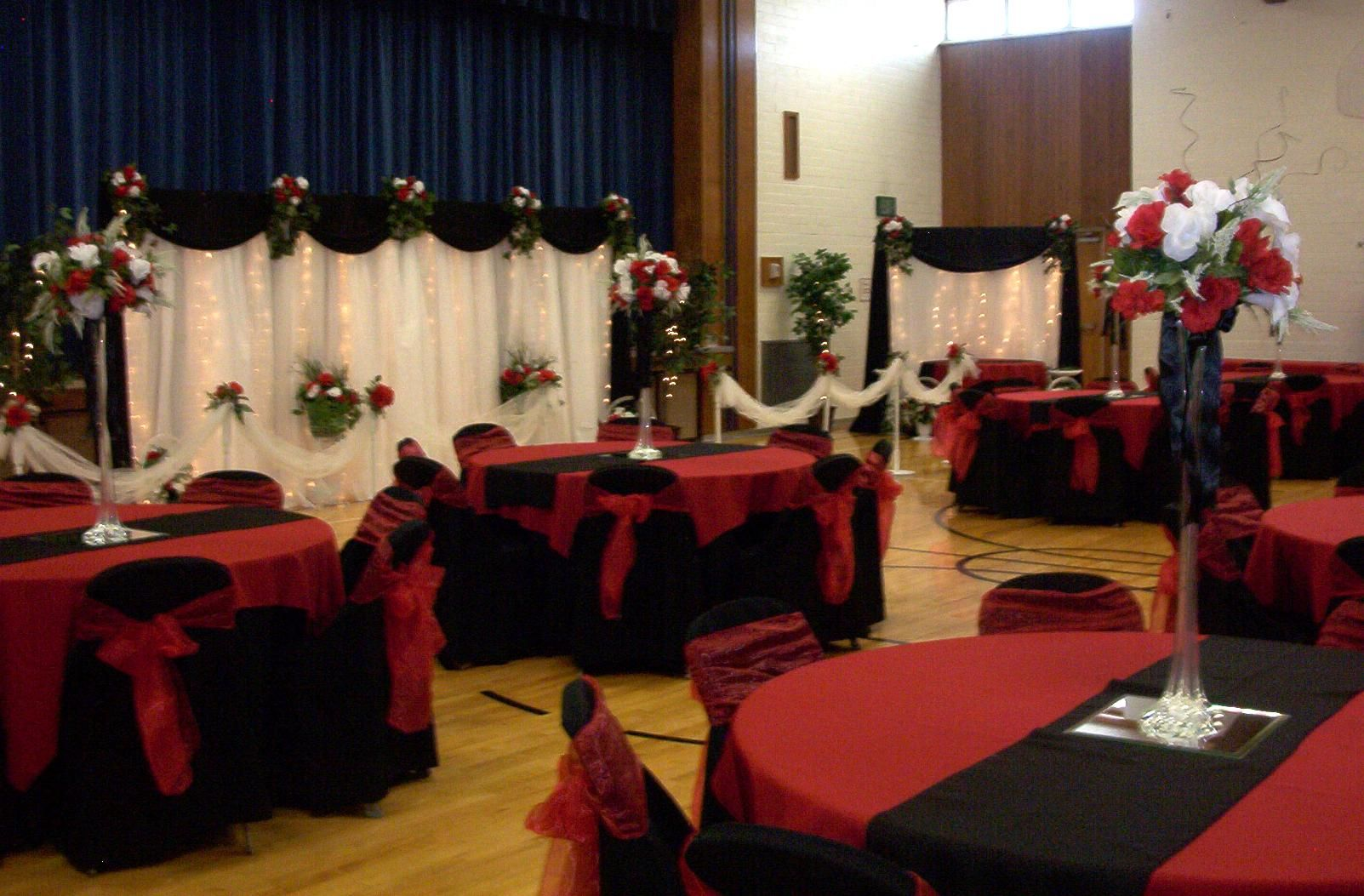 Black White Red Gold Reception Decorations