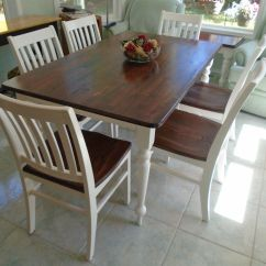 White Farmhouse Kitchen Table And Chairs Purple Chair Covers For Wedding Rustic Brown Stained Top Painted