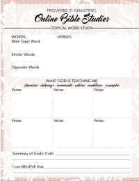 FREE Printable for your Topical Word Study || Proverbs 31 ...