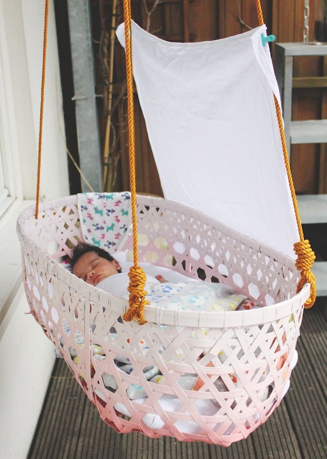Hanging up the duyan  Hanging bassinet Babies and Nursery