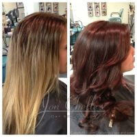 Rich warm brown hair color with red undertones (before and ...