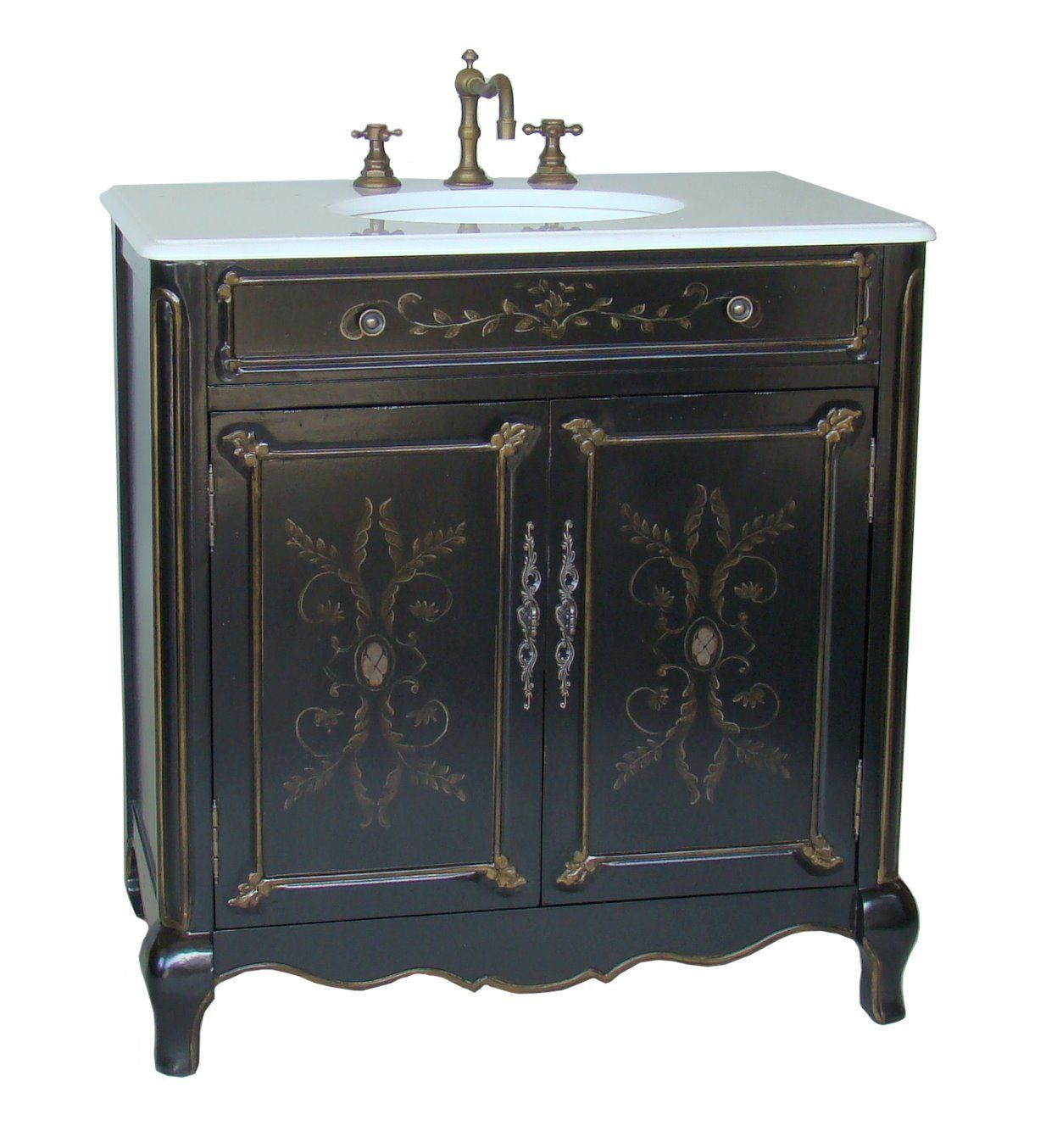 Painted Bathroom Vanity Adelina 32 Inch Cottage Hand Painted Bathroom Vanity