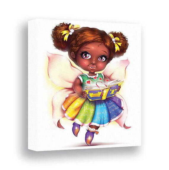 Fairy girl reading book art african american bedroom decor canvas print children library dark also rh pinterest