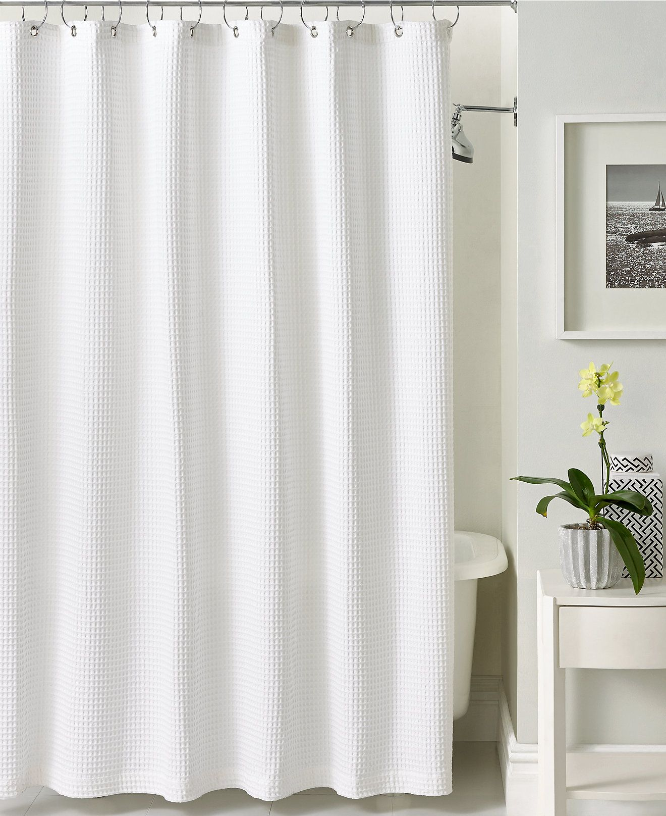 Hotel Collection Bath Accessories, Waffle Shower Curtain