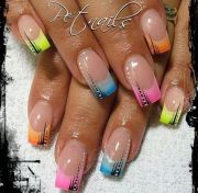 french tip nail design rainbow