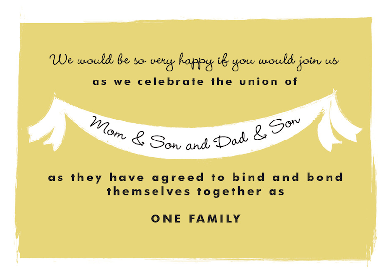Blended Family Wording Wedding Invitation