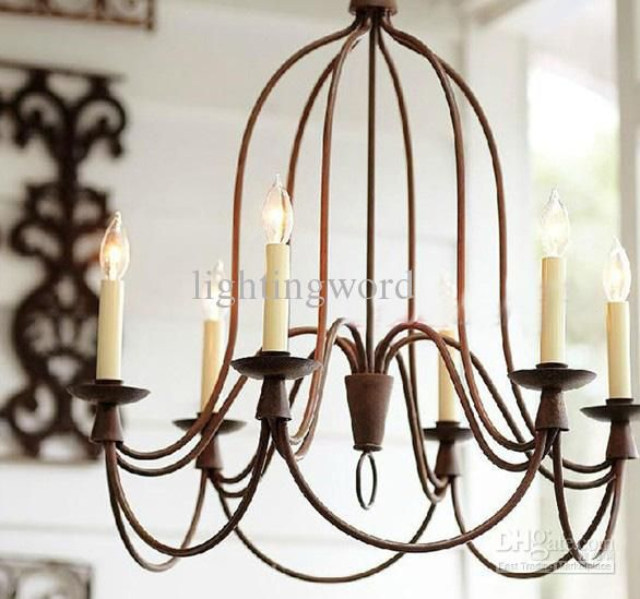 Whole Modern Nordic Wrought Iron Chandelier Living Room Study Pendant Lamp 6 Light Free