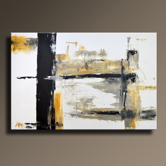 large original abstract yellow gray black white painting on canvas contemporary modern wall art office decor unstretched yg also best images about pinterest paintings rh