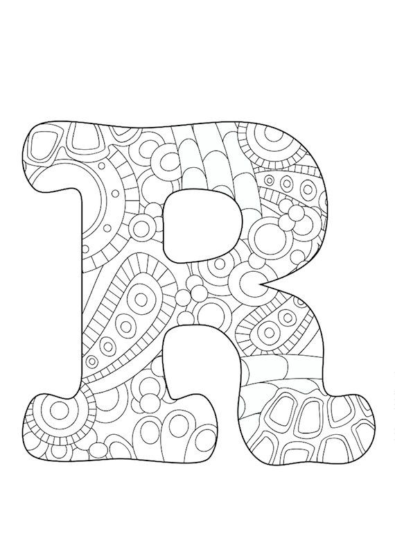 Letter R, adult, coloring page, colored pencils, monogram