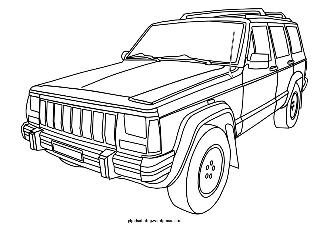 Square Shouldered Cherokee For The Jeep Coloring Book
