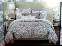 NEW Tahari Gray Silver Paisley Medallion 3pcs KING DUVET ...