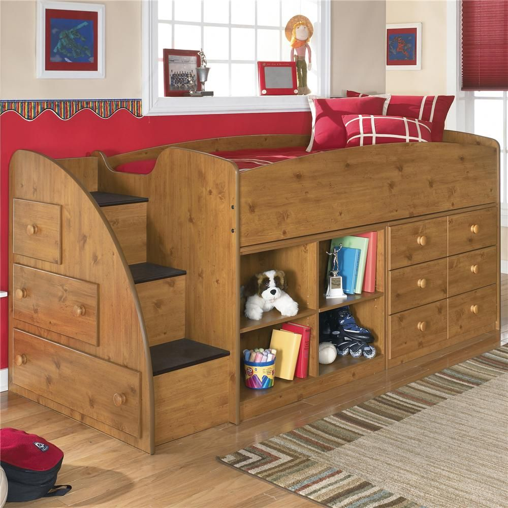 Stages Twin Loft Bed With Left Storage Steps Bookcase