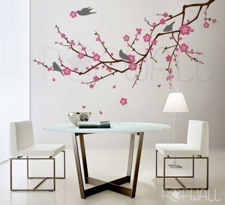 Vinyl Wall Sticker DecalArt Cherry Blossom Tree Branch 66x35 Inch