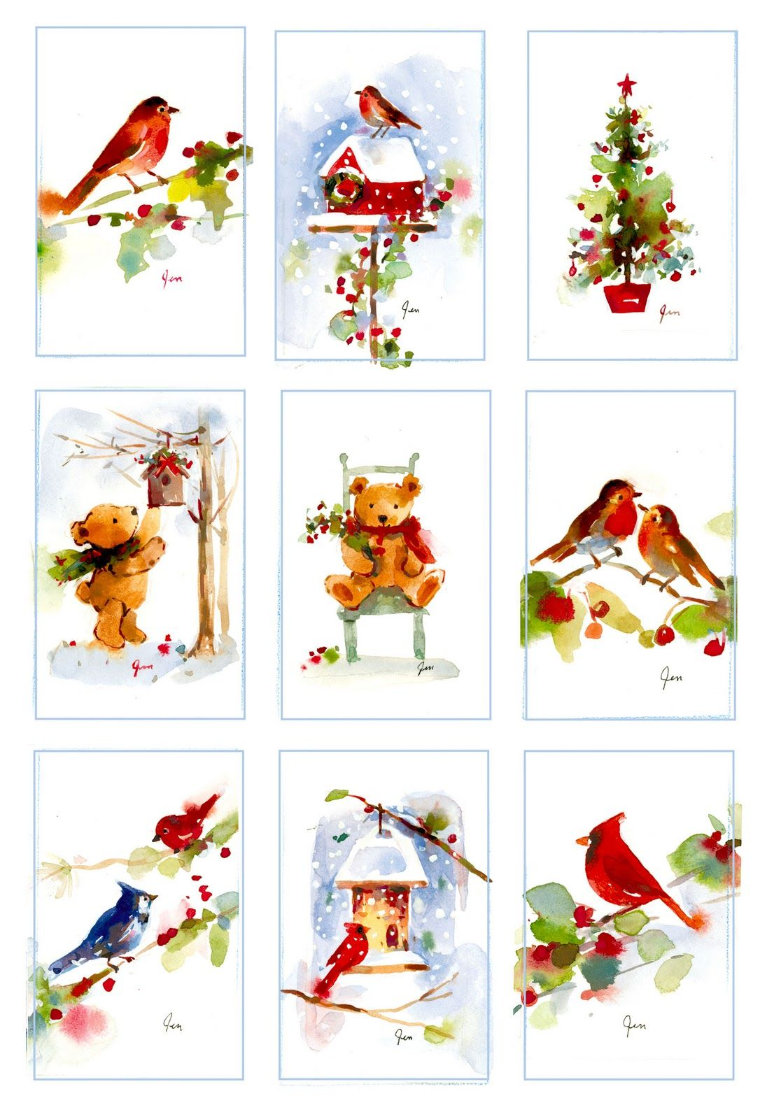 Fitchwellswatercolors Christmas Watercolor Miniatures