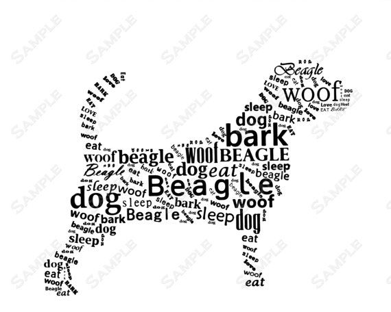 Beagle Word Art Calligram Dog Print Gifts by PetGifts on
