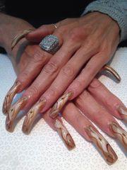 airbrush bronze long nails