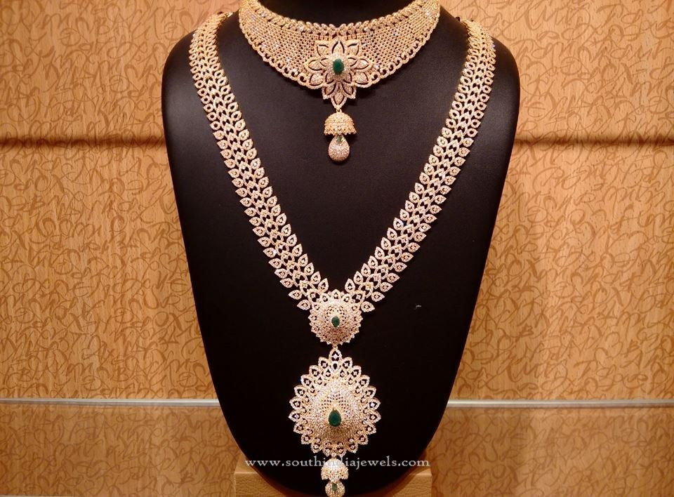 Gold CZ Stone Bridal Jewellery Set