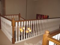 painting a stairway railing black | Busy painting out oak ...