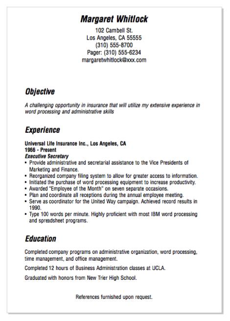 Example Of Insurance Secretary Resume Exampleresumecv Org