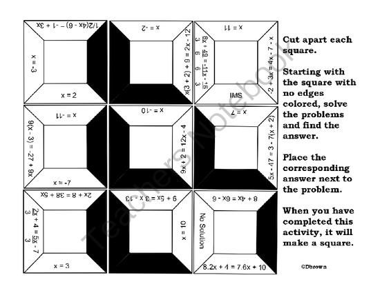 Equations with Variables on Both Sides Puzzle from