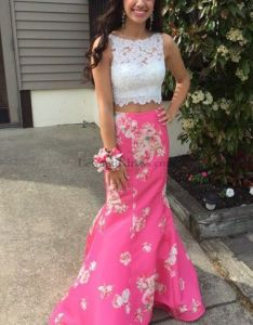 piece flowers print lace long princess prom dress pink lewande also rh pinterest