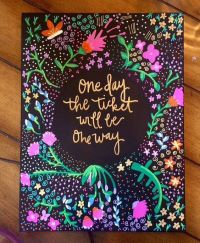 Quote Black Floral Canvas Painting - Home Decor - Wall Art ...