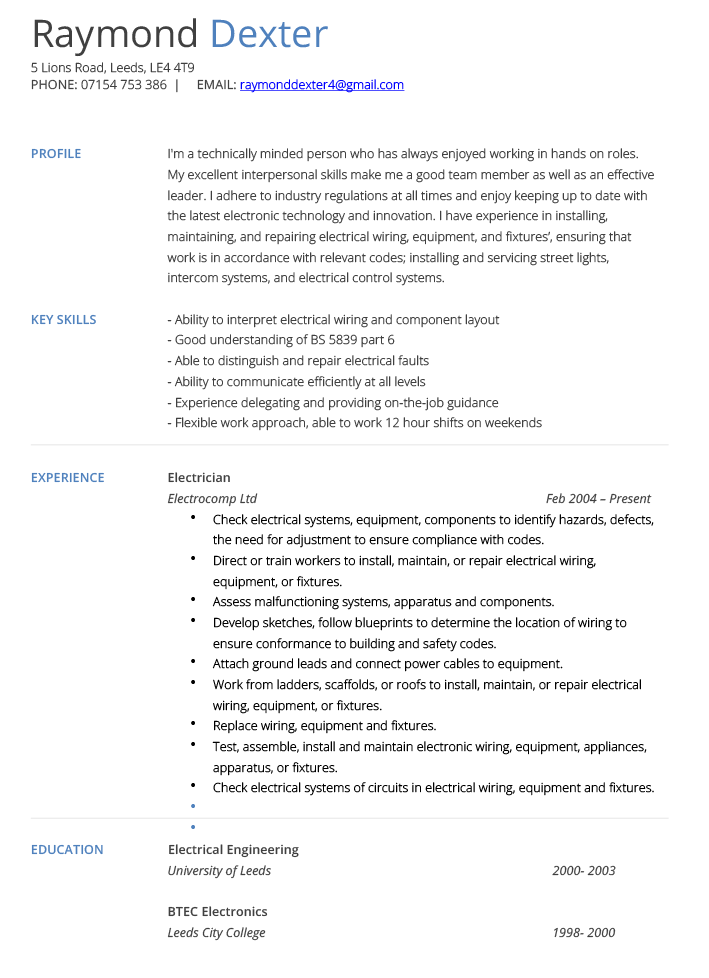 Electrician CV Example And Template Cv Technician Pinterest
