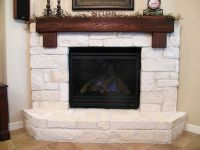 limestone hearth with cedar mantle | Home Style ...