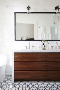 Modern bathroom with walnut vanity, hex floor, marble ...