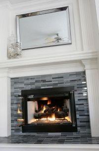 Updated fireplace. Grey & black glass tile. #decor #tile # ...