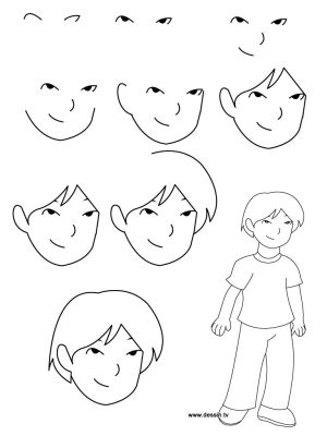 step draw learn instructions boy simple painting drawing drawings boys