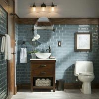 Rustic and Modern Bathroom Blue Grey Glass Tiles ...