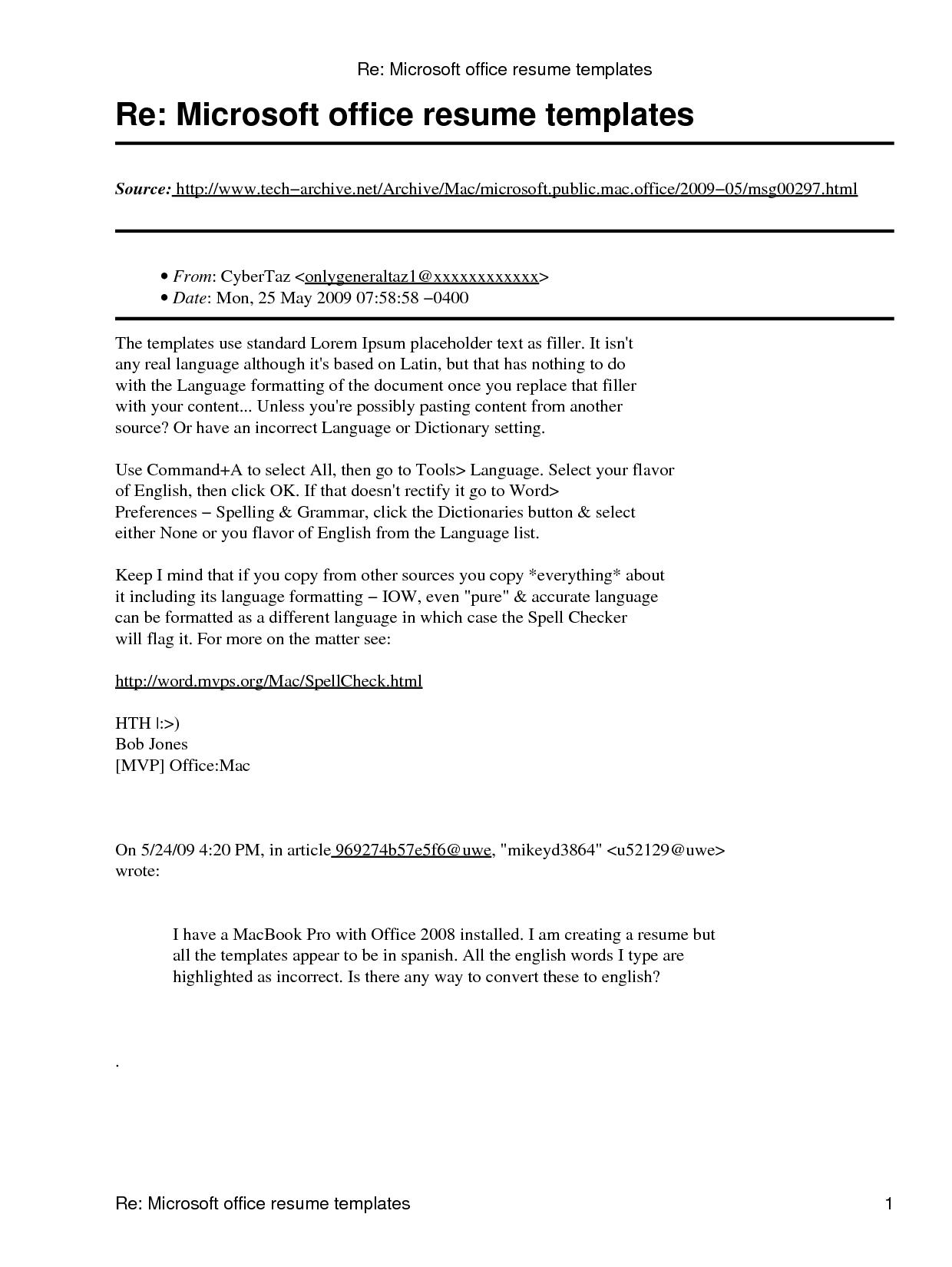 Microsoft Office Resume Template Resumecareer Info