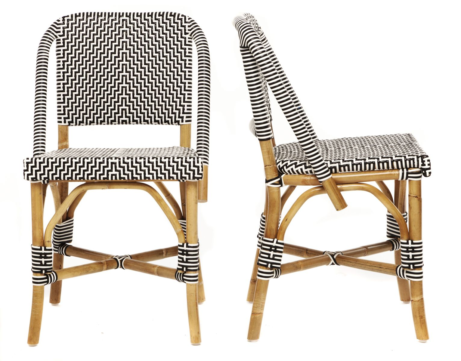 french rattan bistro chairs big lots high chair lafrique 32h black and white pattern