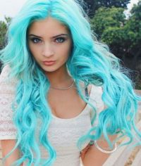 Bright turquoise blue pastel dyed hair color | Dyed Hair ...