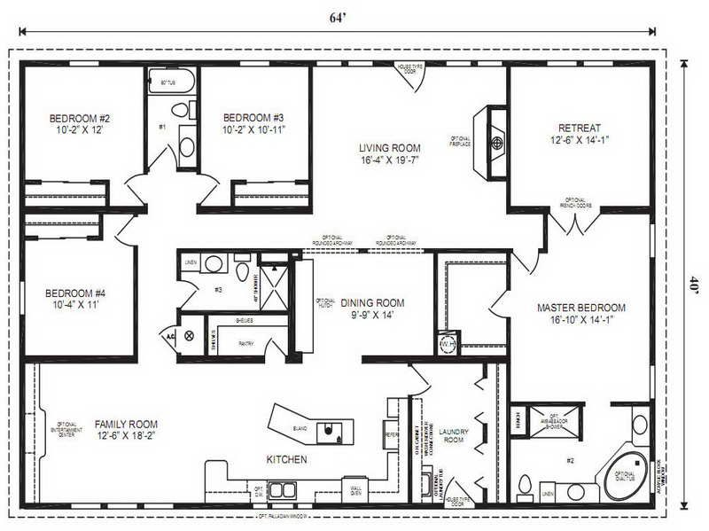 4 Bedroom Mobile Home Plans Double Wide