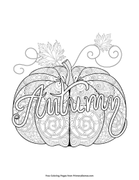 Fall Coloring Page: Autumn Pumpkin Zentangle | Fall ...
