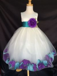 Mardi Grass Ivory Flower Girl Bridesmaids Mixed Petal Teal ...