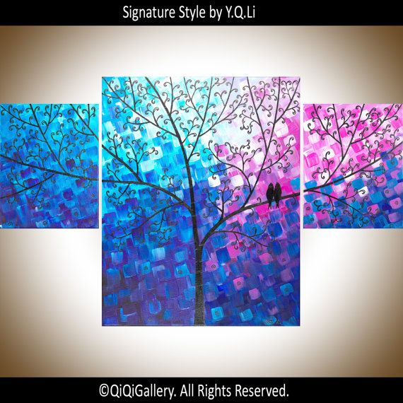 Art painting colorful birds set of wall decor blue purple magenta  for couples on canvas wishing tree by qiqi also extra large flowers rh pinterest