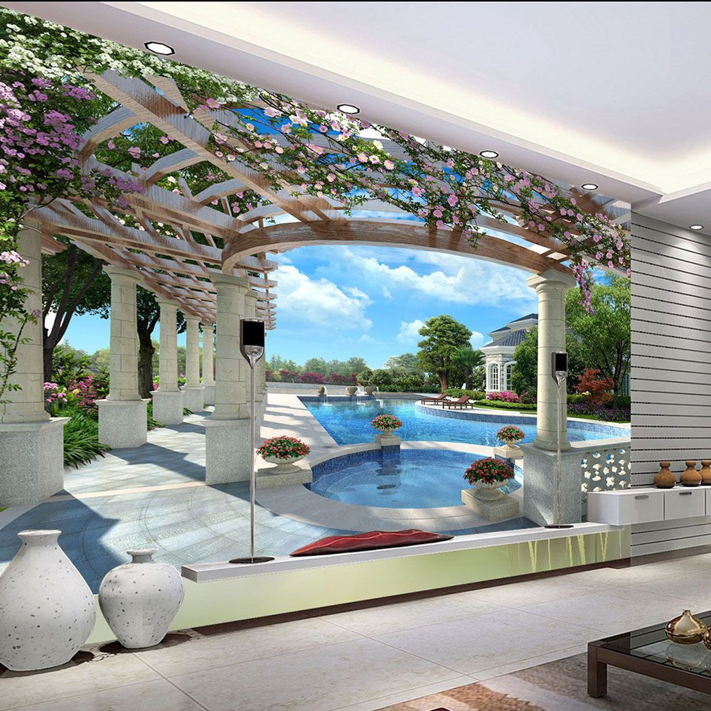 Popular swimming pool in summer wallpaper mural rolls for hotel restaurant living room cafe bedroom tv also rh pinterest
