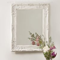 Vintage shabby chic white cream French ornate wall mirror ...