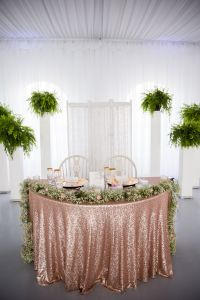 Our sweetheart table. Rose gold glitter table cloth with ...