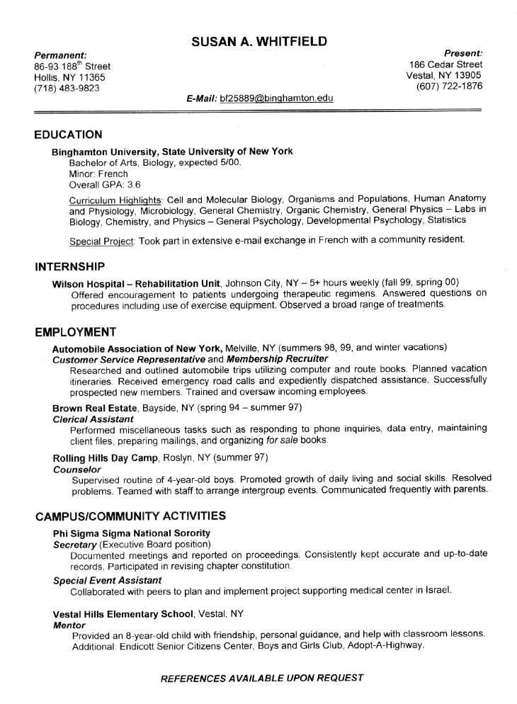 Resume Examples Student Sample Student Internship Resume Template