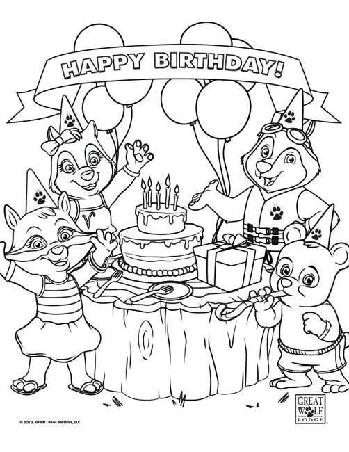 Coloring sheets for Great Wolf Lodge-themed birthday