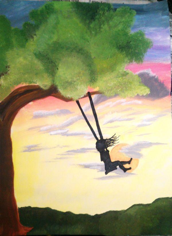 Girl Swinging Tree Silhouette Kristine Euler