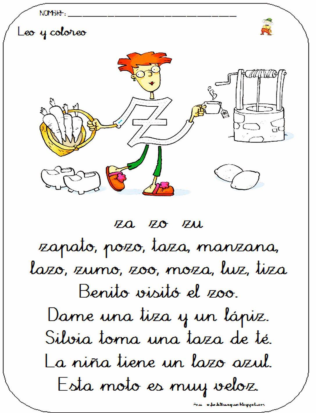 Ficha De Lectura De La Letra Z