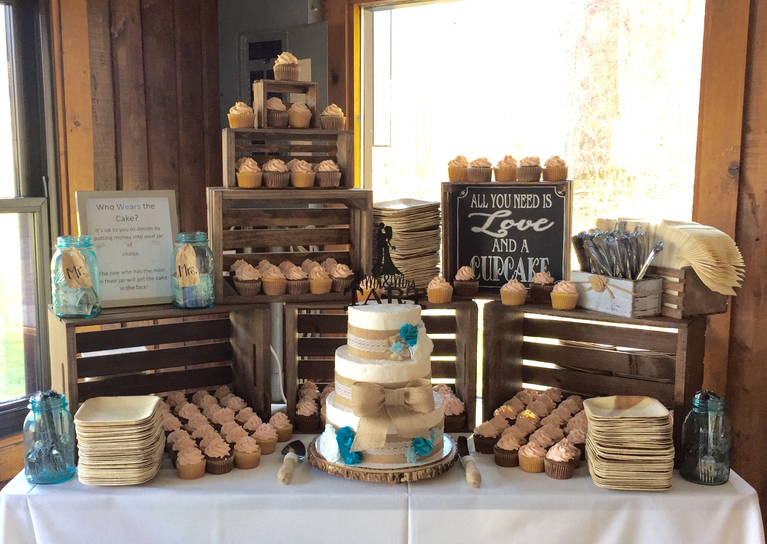 Rustic Wedding Cake And Cupcakes